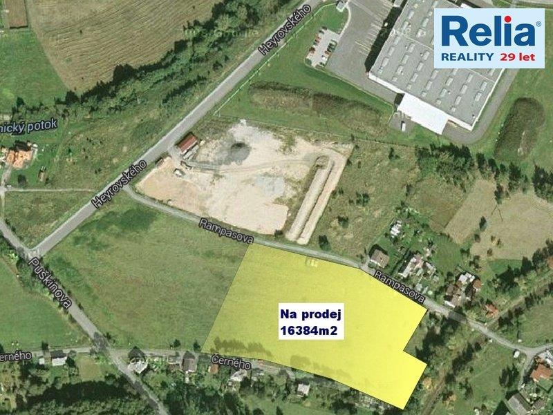 Komerční pozemek 16 384 m2 v Liberci pro haly, sklady, výrobu  v průmyslové zóně JIH